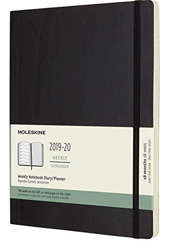 Moleskine Wochen Notizkalender, Taschenkalender, 18 Monate, 2019/2020, XLarge, Soft Cover, Schwarz -