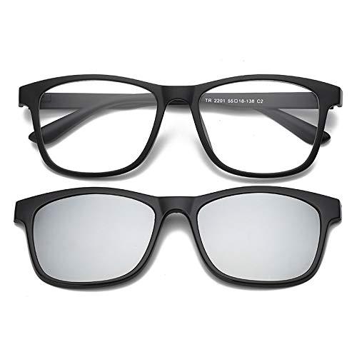 Yangjing-hl Sonnenbrillen Clip EIN Spiegel Dual-Use-Männer und Frauen Sonnenbrillen Leuchtend schwarzen Rahmen weiß Quecksilber