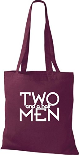ShirtInStyle Jute Stoffbeutel TWO AND A HALF MEN Kult Beutel, diverse Farbe, burgundy