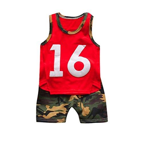 Kleinkind Baby Boy 1PC Oberteile + 1PC Hosen Sunday Camouflage T-Shirt Weste Tops Shorts Hosen Outfits Kleidung Sets Baumwolle O-Neck Ärmellos Sommer (Höhe: 75-80cm, Rot) (Camouflage-weste Hund)