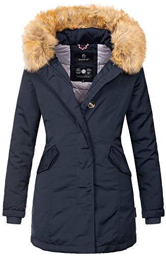 Marikoo Damen Winter Jacke Parka Mantel Winterjacke warm gefüttert B362 [B362-Karmaa-Navy-Gr.S]