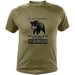 Tee Shirt Chasse on nait Tous égaux Sanglier (XL, Vert)