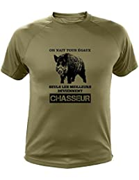 AtooDog Tee Shirt Chasse on Naît Tous égaux, Seuls Les Deviennent Chasseurs  Sanglier eb4fce5c941b