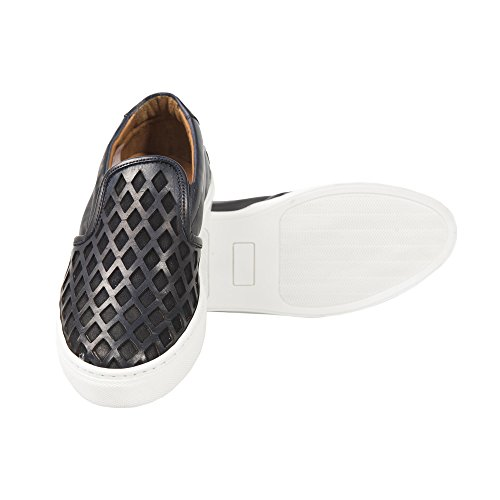 UominiItaliani - Slip-On Chaussures pour hommes Made in Italy - Mod. P05 PIRAMIDE Bleu Marine