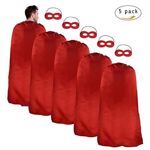 Erwachsene Superhero Kostüme Satin Red Capes und Masken Set für Männer Frauen Kostüm Jede Party und Spiel, 5 ()
