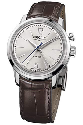Vulcain Cricket 50s Presidents Herren Uhr analog Handaufzugwerk mit Leder Armband 100153.295L