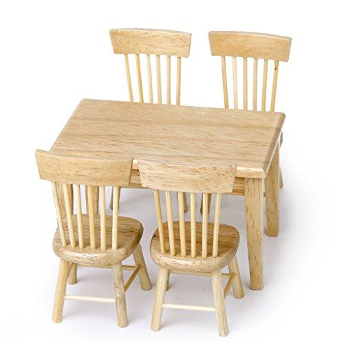 TOOGOO(R) 5 pieces ensemble salle a manger chaise Modele Maison de poupee meubles miniatures en bois 1/12 0888309269904
