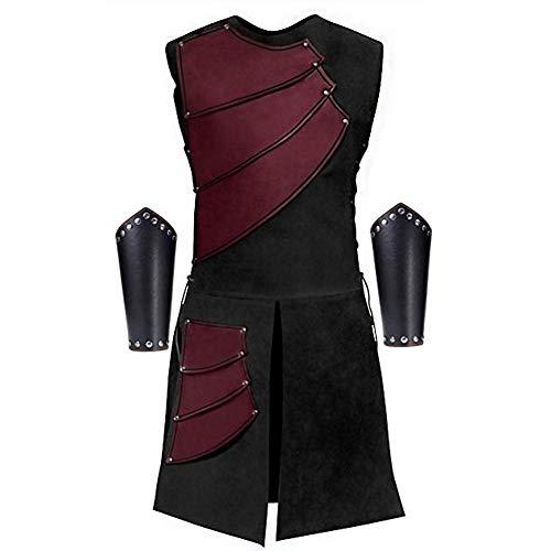 Vintage Stage Wear Nordic Viking Vest Herren mittelalterliche Fantasy Rüstung Kostüm Rundhals ärmellose Jacke Mantel mit Leder Niet - Red Pirat Jacke Kostüm