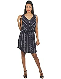 Old Khaki Printed Cotton Viscose Casual Women's Girls Sleeveless Dress in Navy Blue and White Color with Contrast & Free Shipping
