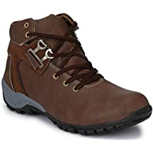 De rock Mens Casual Boots/Long Hiking Trekking/Laceup Synthetic Leather Shoe