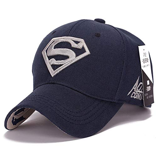 mlpnko Neue Visier männlichen und weiblichen Paar Superman baseballmütze Mode Golf Hut Tibet blau Silber Stickerei - Superman Neue Kostüm Blau