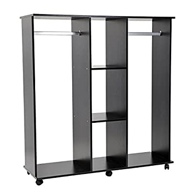 Homcom Double Mobile Open Wardrobe With Clothes Hanging Rails Storage Shelves Organizer Bedroom Furniture New - cheap UK light store.