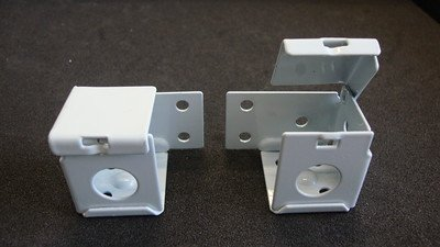 1 PAIR: MINI BLIND Brackets, for 1 X 1 Head Rail, in White Metal (Horizontal) by Amazing Drapery Hardware