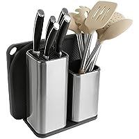 TOPHOME Juego de cubiertos Cubiertos Juego de cuchillos y tablas de cortar  Cubiertos de cocina Cubiertos de mesa Organizador de carrito de mesa  Utensilio de ... 65faeb661a71