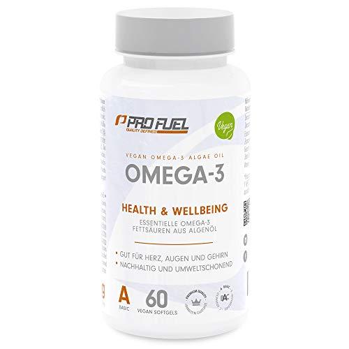 OMEGA-3 VEGAN | Hochwertige Omega-3 Fettsäuren aus Algenöl | Hochdosiert • DHA & EPA - KEIN Fischöl | Made in Germany | DAS Original von ProFuel