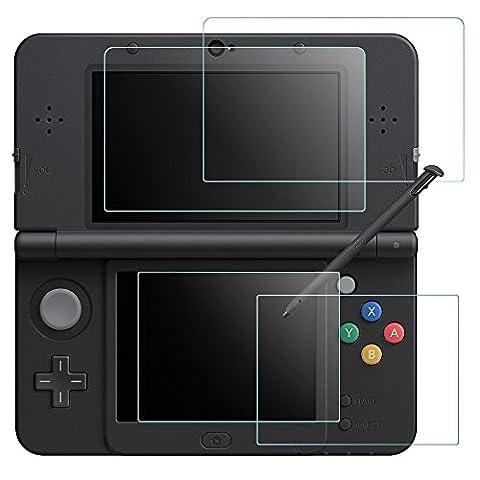 Films de Protection d'Ecran pour Nintendo New 3DS, AFUNTA 2 Pack (4 Pièces) Films en Verre Trempé pour Écran Supérieur et Films en PET Plastique pour Écran Inférieur, 3DSXL Accessoire