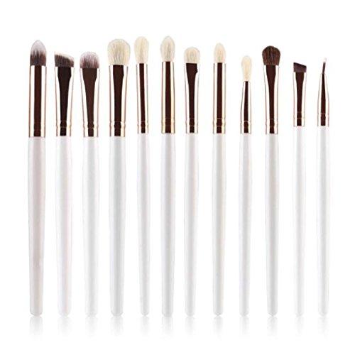 Longra 12Pcs setzt bunte kosmetische Augenbraue Lidschatten Pinsel Kosmetik Pinsel Make-up Pinsel Kits Tools (White)