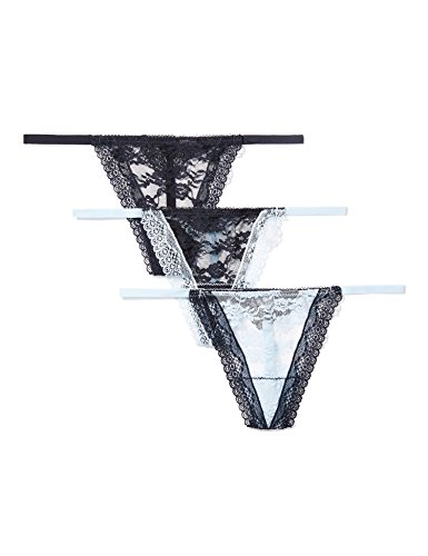 Iris & Lilly String Ficelle en Dentelle Femme, Lot de 3, Bleu (Blue/Navy), (Taille Fabricant: Large)
