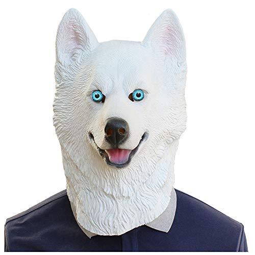 YaPin Neuheit Schnee Leopard Maske Hundekopf Maske Lustige Halloween Party Latex Maske (Leopard Make-up Halloween Für)