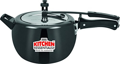 Kitchen Essentials Naarangi Hard Anodised Pressure Cooker-5 liter (Inner lid), Black , 5 Years Gurantee  available at amazon for Rs.2275