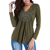 Luckycat Mujer Encaje Camiseta Mangas Largas V Cuello Dobladillo Elegante Casual T Shirts Tops