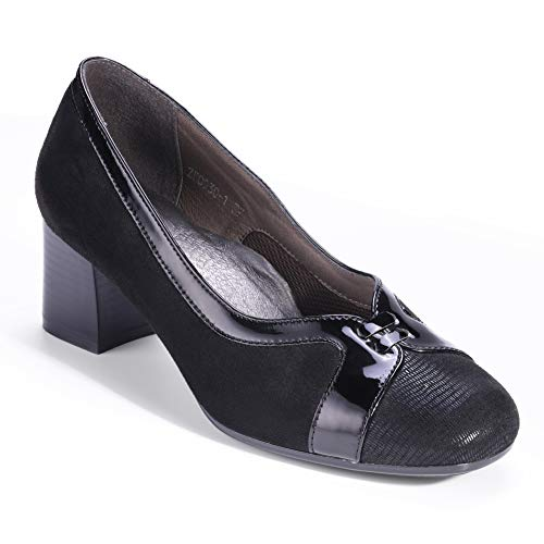 H&L HUALUNAOTE Court Shoes Womens, Black Leather Ladies Pumps Comfortable Mid Block Heel Round Toe Size 6.5 by Black Round Toe High Heel