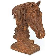 Skulptur Pferdekopf eindrucksvoll Lebensgröße Mauerkrone Pferd Rostoptik