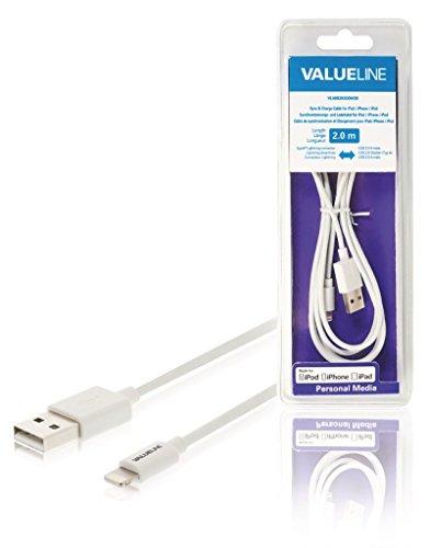 ations- und Ladekabel für iPad/iPhone/iPod, Apple Lightning-USB 2.0A Stecker, weiß 2,00m ne550636517 ()