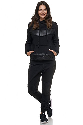Violento Damen Jogging-Anzug | Leder Anzug 610 (XL-fällt groß aus, Schwarz)