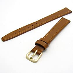 Condor Calf Leather Ladies Watch Strap Tan 10mm Gilt (Gold Colour) Buckle and Free Spring Bars 124R.08