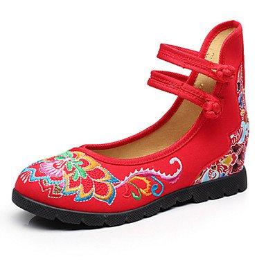 Schuhe Komfort schwarz neuheit outddor Bestickte Lässig Schuhe leinwand Absatz flacher Rot Beige Damen Sportlich Black flache vwCqqgf