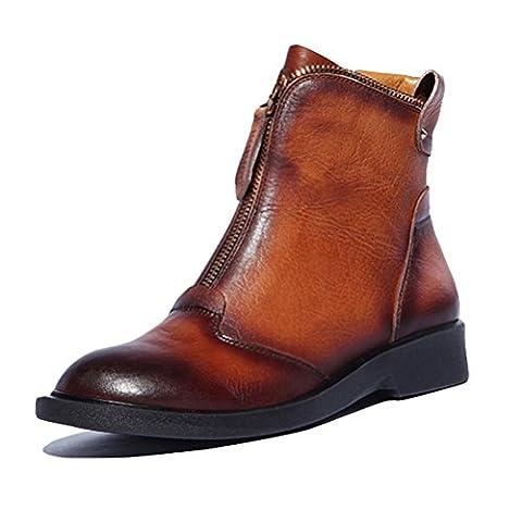 3cm Damen Stiefel italienische Leder Retro High Heels bequem und schön brown 39 (Schwarze Riemchen-plattform)