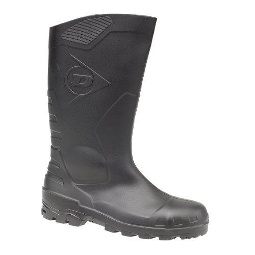 Dunlop Sicherheitsstiefel S5 H142011 mit Stahlkappe und Stahlsohle 47, Unisex-Erwachsene Langschaft Gummistiefel Schwarz