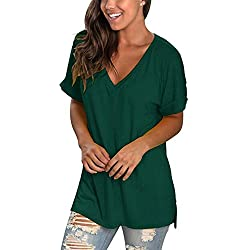 Camisetas Mujer Cuello Pico Manga Corta Casual Verano Tops Blusas Verde S