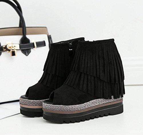 GTVERNH-black 8.5cm bocca di pesce scarpe con l'aumento della pendenza in sandali zuccherino spessa impermeabile scarpe col tacco alto nappe,trentaquattro Thirty-nine
