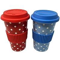Ceramic Travel Mugs - Set of 2: High Quality Fine China, Polka Dot Design