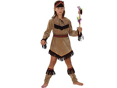 Déguisement ''Indienne'' Pour Fille - Déguisement ''Indienne'' pour fille comprenant une tunique en aspect suédine de couleur beige agrémentée de franges sur le bas de la robe ainsi que sur les manches, des sur-bottes, choisir:Costume10-12 ans 82177