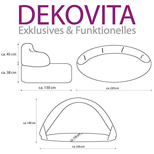 Dekovita Air-Lounge 220x130cm aufblasbare Sonneninsel inkl. Auflage Kissen Sonnendach 2-3 Personen Liege bis 200KG Beige - 5