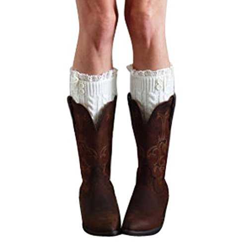 Amlaiworld Chaussettes Tricot Crochet Boots Cover Femme, botte extensible dentelle Boot Socks Boot Cuff (22/8,7, Blanc)