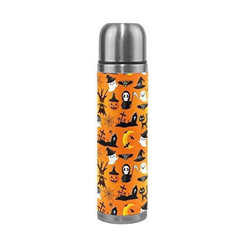 Alaza Halloween Ghost Thermos-Flasche Edelstahl, doppelwandige Vakuum Isolierung Cup auslaufsicher Reise Kaffee Tasse Echt Leder Hülle 17Oz