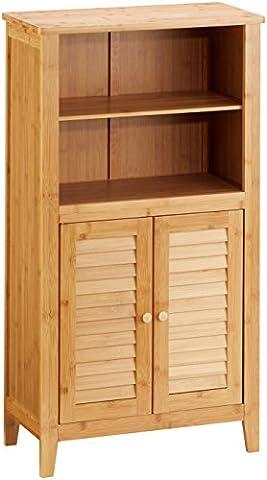 Relaxdays Armoire 2 portes en lames ajourées LAMELL salle de bain Étagère couloir bambou Table de téléphone 92 x 50 x 25 cm, nature