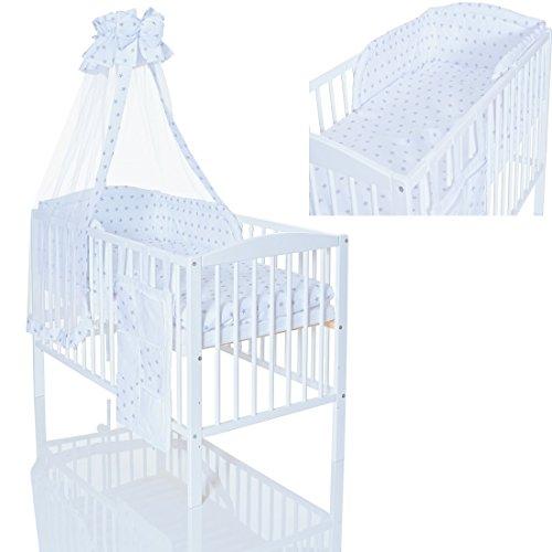 Lit bébé 120x60 en bois blanc evolutif + matelas + 9 pièces ensemble de linge chambre enfant Stars gris