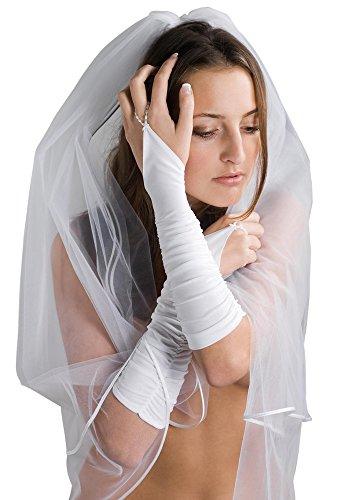 MGT-Shop Brauthandschuhe Braut Handschuhe Hochzeit Brautzubehör Zubehör Brautaccessoires 30 cm weiß , creme, champagner, ivory (ivory)