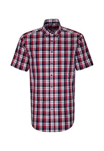 Seidensticker modern kurzarm mit button-down kragen bügelfrei, camicia formale uomo, rosso (rot 47), 39