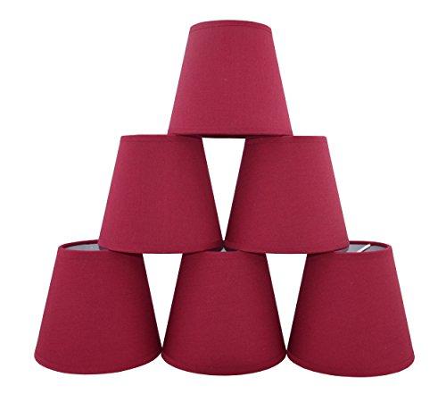 Doooitlight Set mit 6Clip-Lampenschirmen für Lampen, Leuchten, Kronleuchter rot