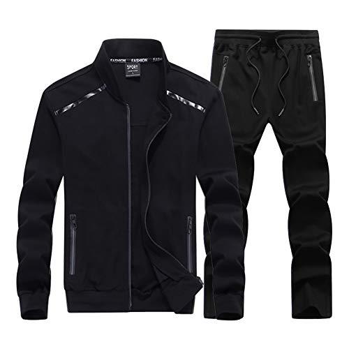 WYX Herren Full Zip Trainingsanzug Sport Frühling Herbst Jacke Jogginghose Kleidung Anzug Laufen Fitness Jogging Langarm Activewear,a,8XL