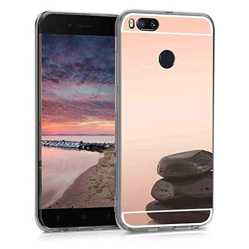 XCYYOO Funda Espejo para Xiaomi Mi 5X/ A1, Protectora Movil Carcasa TPU Silicona Ultra-Fina Bumper Mirror Case, Goma Cubierta Cobertura Delgado Cover para Xiaomi Mi 5X/ A1(Oro Rosa)