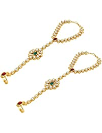 Andaaz Green Pearl Kundan Hathphool Bracelet for Women -Set of 2