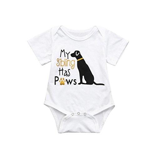 nkind Infant Baby Jungen Mädchen Brief Hund Strampler Overall Kleidung Outfits (3M, Weiß) ()