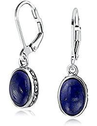 Bling Jewelry .925 Silver Oval Natural Untreated Lapis Lazuli Drop Earrings